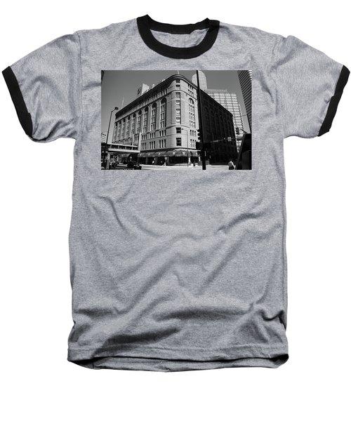 Denver Downtown Bw Baseball T-Shirt by Frank Romeo