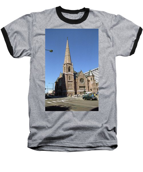 Baseball T-Shirt featuring the photograph Denver Downtown Church by Frank Romeo