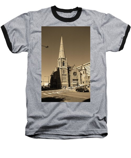 Baseball T-Shirt featuring the photograph Denver Downtown Church Sepia by Frank Romeo