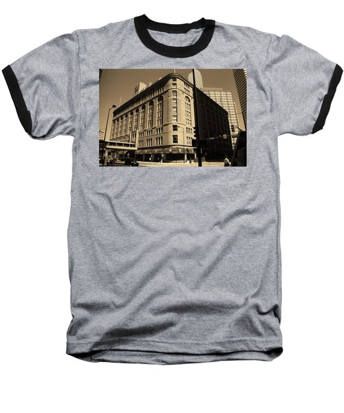 Baseball T-Shirt featuring the photograph Denver Downtown Sepia by Frank Romeo
