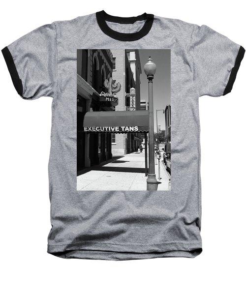 Denver Downtown Storefront Bw Baseball T-Shirt by Frank Romeo