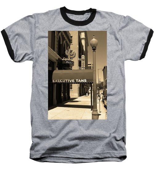 Baseball T-Shirt featuring the photograph Denver Downtown Storefront Sepia by Frank Romeo