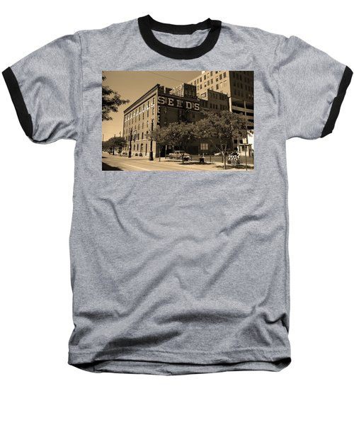 Baseball T-Shirt featuring the photograph Denver Downtown Warehouse Sepia by Frank Romeo