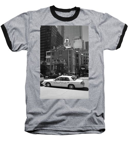 Denver Downtown With Yellow Cab Bw Baseball T-Shirt by Frank Romeo