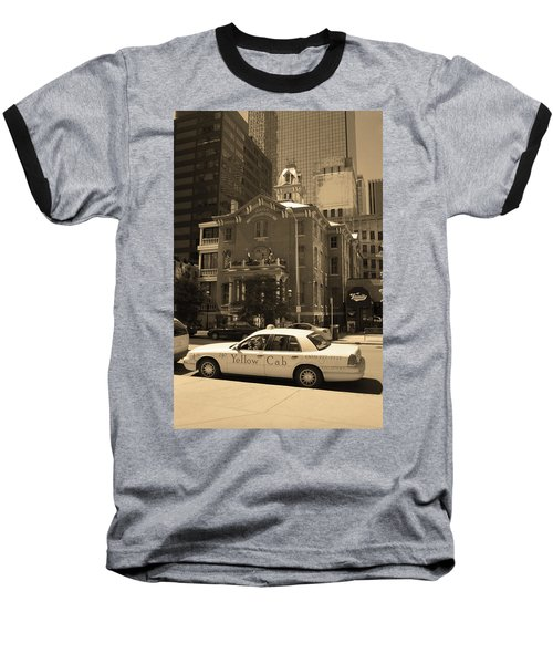 Baseball T-Shirt featuring the photograph Denver Downtown With Yellow Cab Sepia by Frank Romeo