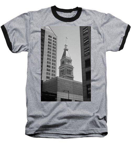 Denver - Historic D And F Clocktower 2 Bw Baseball T-Shirt by Frank Romeo