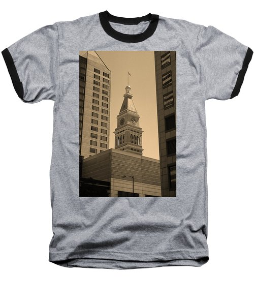 Baseball T-Shirt featuring the photograph Denver - Historic D F Clocktower 2 Sepia by Frank Romeo