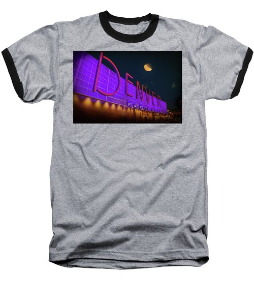 Baseball T-Shirt featuring the photograph Denver Pavilion At Night by Kristal Kraft