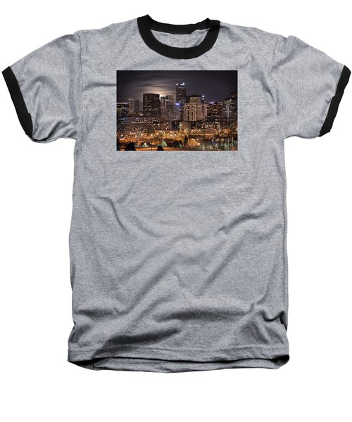 Denver Skyline At Night Baseball T-Shirt by Juli Scalzi
