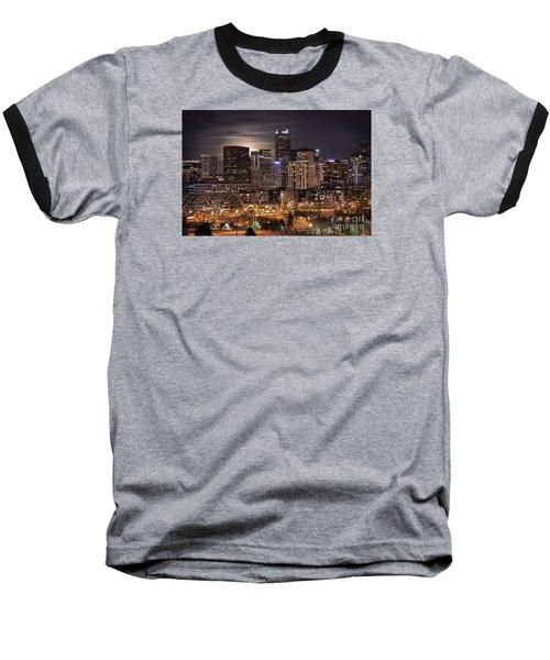 Denver Skyline At Night Baseball T-Shirt