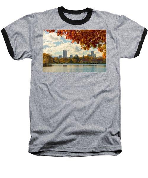 Denver Skyline Fall Foliage View Baseball T-Shirt