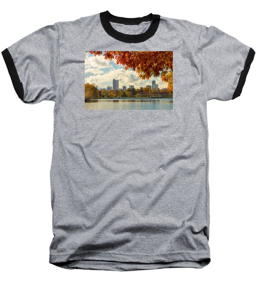 Denver Skyline Fall Foliage View Baseball T-Shirt