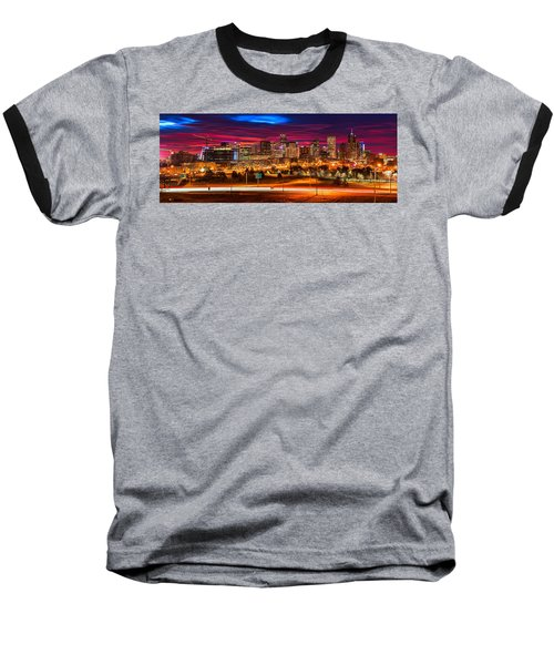 Denver Skyline Sunrise Baseball T-Shirt