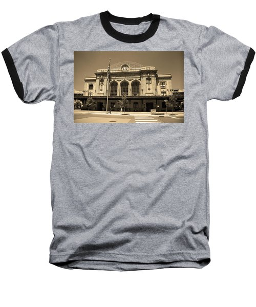 Baseball T-Shirt featuring the photograph Denver - Union Station Sepia 5 by Frank Romeo