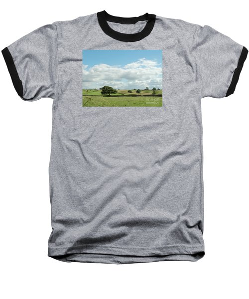 Derbyshire Landscape Baseball T-Shirt by Mini Arora