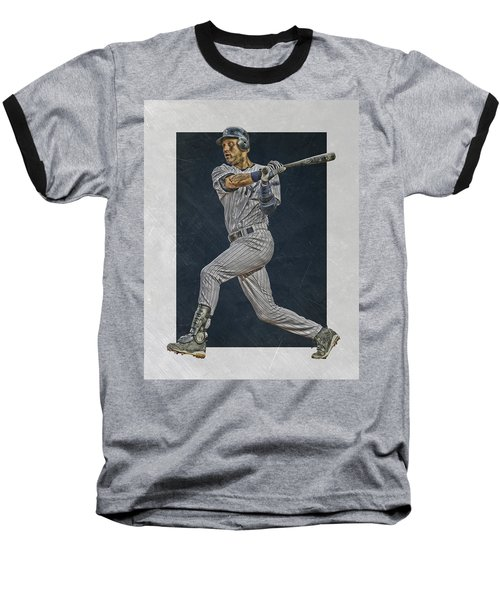 Derek Jeter New York Yankees Art 2 Baseball T-Shirt by Joe Hamilton