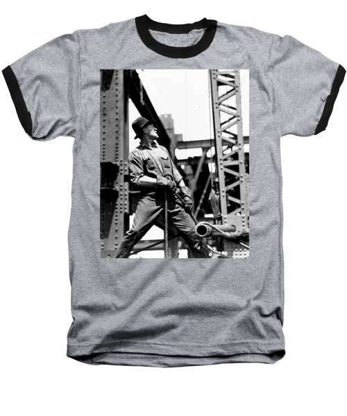 Derrick Man   Empire State Building Baseball T-Shirt by LW Hine