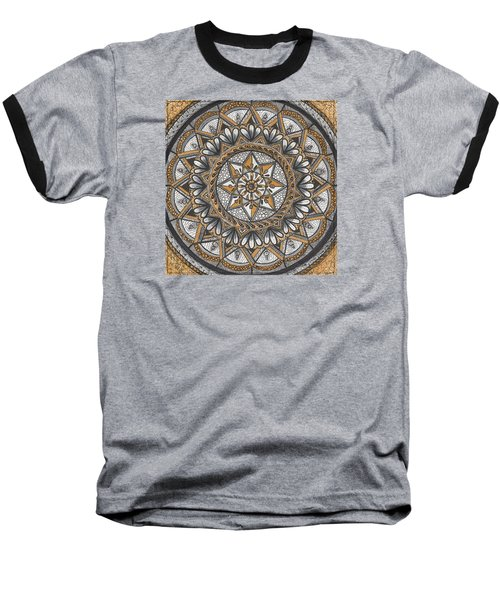Baseball T-Shirt featuring the drawing Des Tapestry In Gold-grey-black by Kathy Sheeran