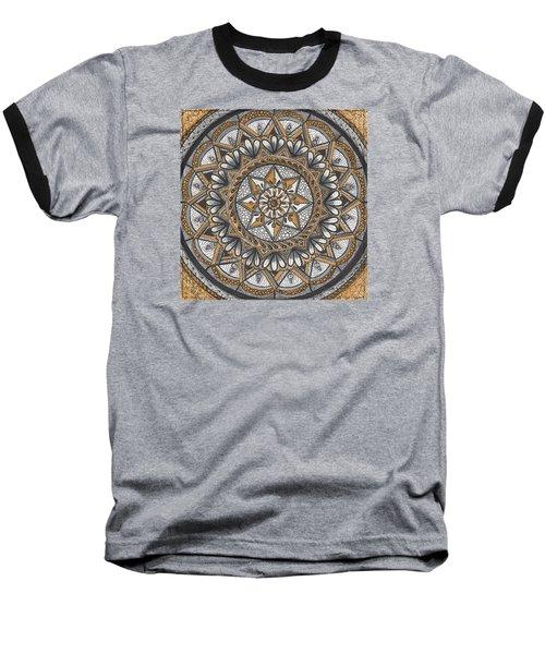 Des Tapestry In Gold-grey-black Baseball T-Shirt by Kathy Sheeran