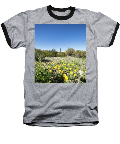 Desert Flowers And Cactus Baseball T-Shirt by Ed Cilley