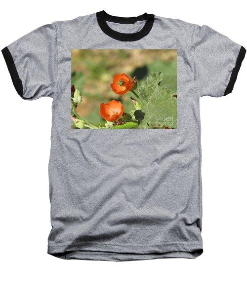 Desert Globemallow Blooms 227 Baseball T-Shirt by En-Chuen Soo