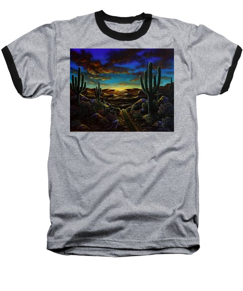 Baseball T-Shirt featuring the painting Desert Trail by Lance Headlee