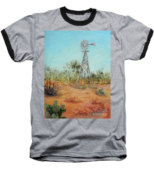 Desert Windmill Baseball T-Shirt