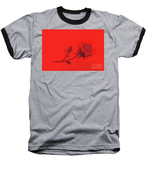 Baseball T-Shirt featuring the photograph Designer Red Rose by Linda Phelps