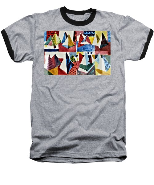 Baseball T-Shirt featuring the painting Designs For Pyramids by Mindy Newman