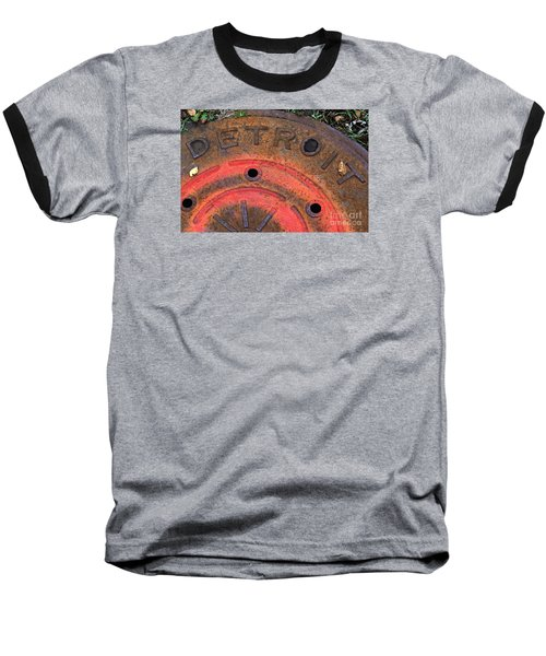 Detroit Manhole Cover Spray Painter Red Baseball T-Shirt by Sandra Church