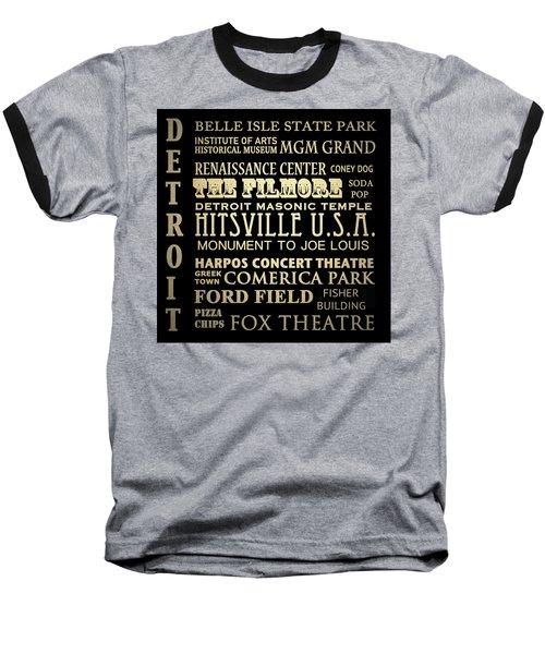 Detroit Michigan Famous Landmarks Baseball T-Shirt