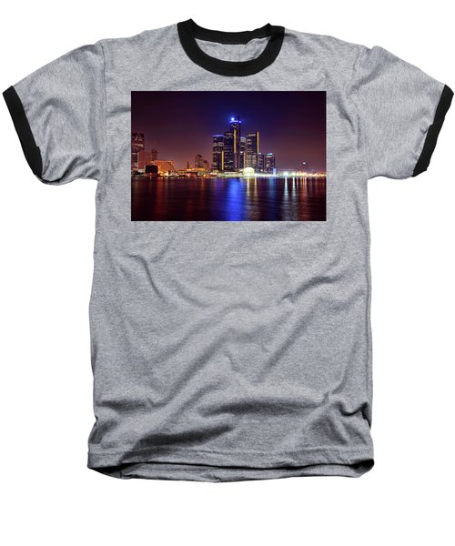 Detroit Skyline 4 Baseball T-Shirt by Gordon Dean II