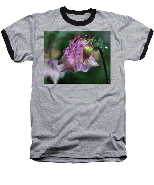 Baseball T-Shirt featuring the photograph Dewey Morning Columbine by Susan Capuano