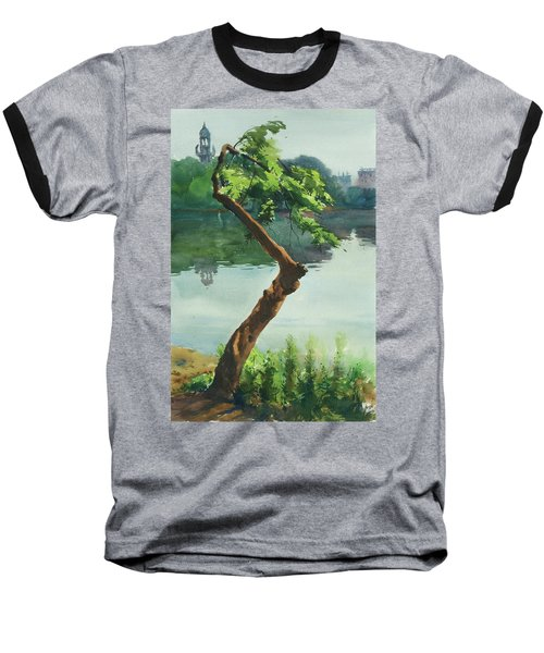 Baseball T-Shirt featuring the painting Dhanmondi Lake 03 by Helal Uddin