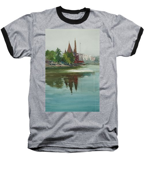 Baseball T-Shirt featuring the painting Dhanmondi Lake 04 by Helal Uddin