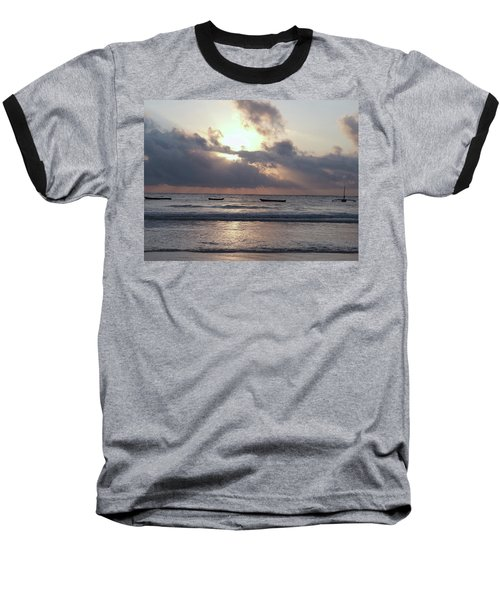 Dhow Wooden Boats At Sunrise 1 Baseball T-Shirt