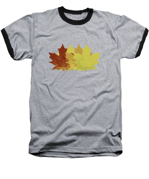 Diagonal Leaf Pattern Baseball T-Shirt by Methune Hively