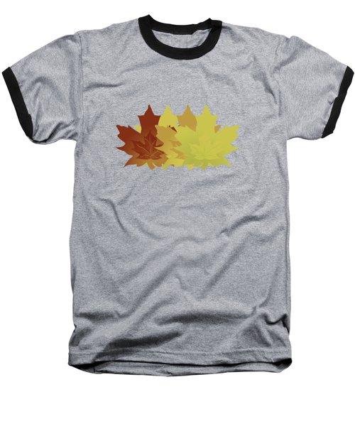Diagonal Leaf Pattern Baseball T-Shirt