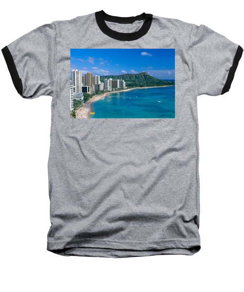 Diamond Head And Waikiki Baseball T-Shirt