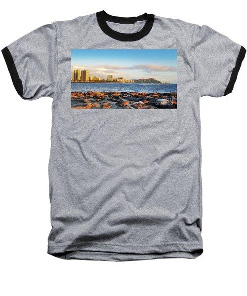 Diamond Head, Waikiki Baseball T-Shirt by Kristine Merc