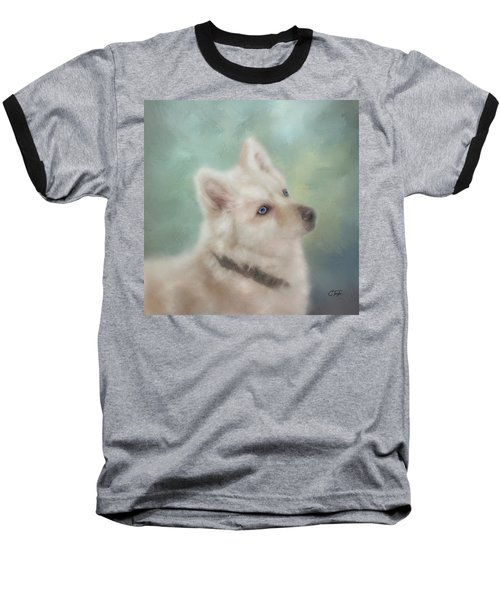 Baseball T-Shirt featuring the mixed media Diamond, The White Shepherd by Colleen Taylor