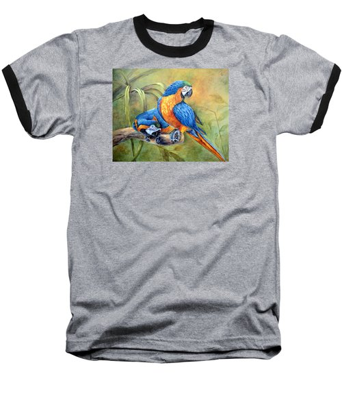 Baseball T-Shirt featuring the painting Did You See That by Mary McCullah