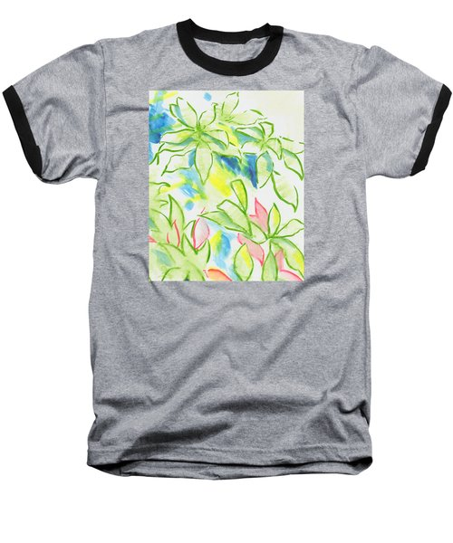 Different Coloured Hydrangea Leaves - Green Red Yellow Baseball T-Shirt