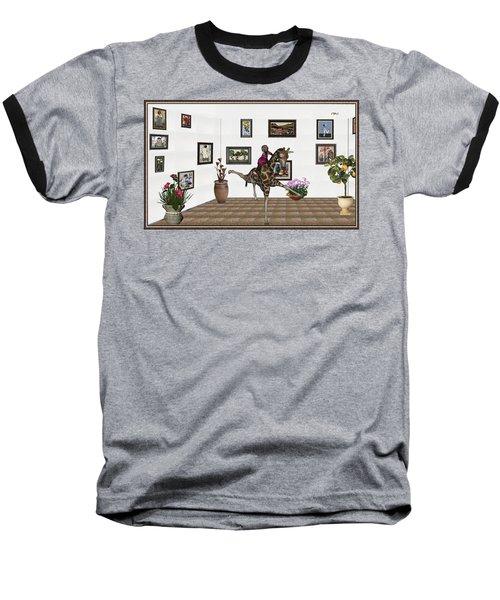Baseball T-Shirt featuring the mixed media digital exhibition _ It climbed up giraffe by Pemaro