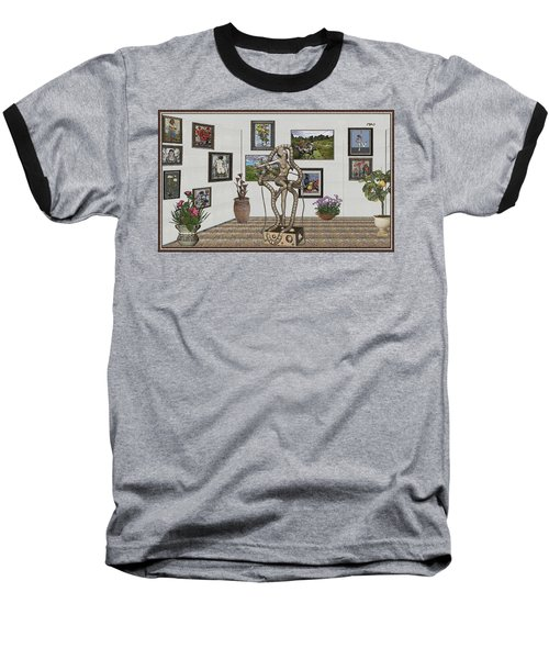 Baseball T-Shirt featuring the mixed media Digital Exhibition _ Modern  Statue 1   Of Dancing Girl by Pemaro