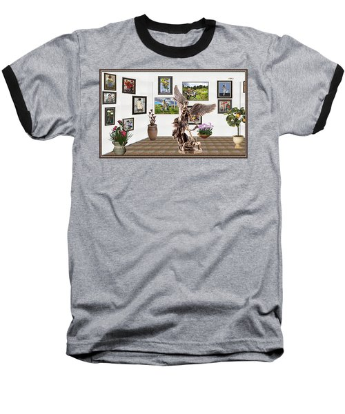 Baseball T-Shirt featuring the mixed media digital exhibition _  sculpture of a Angels and Demons  by Pemaro