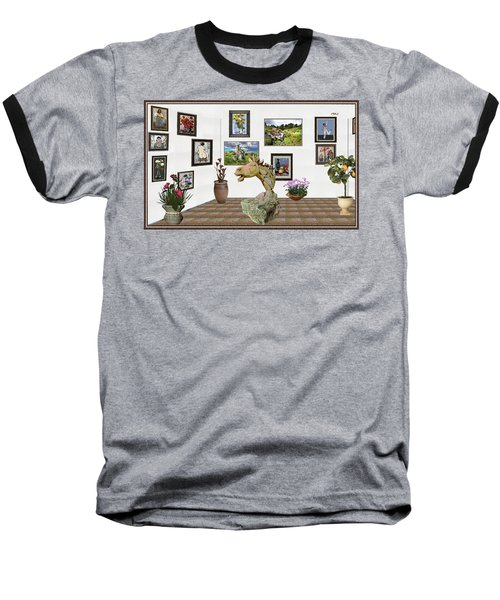 Baseball T-Shirt featuring the mixed media Digital Exhibition _  Sculpture Of A Horse by Pemaro