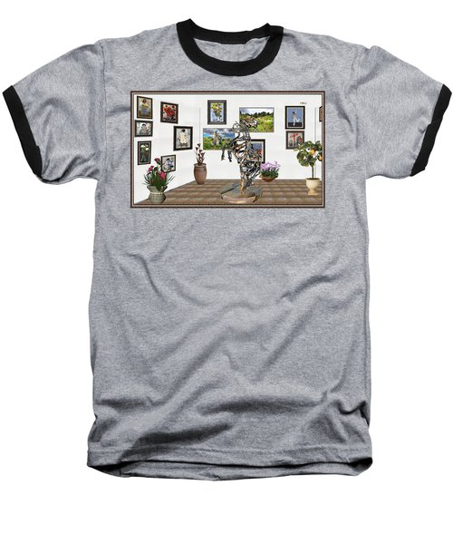 Baseball T-Shirt featuring the mixed media Digital Exhibition _ Statue Of Branches by Pemaro