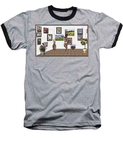 Baseball T-Shirt featuring the mixed media digital exhibition 32 _ posing  Girl 32  by Pemaro