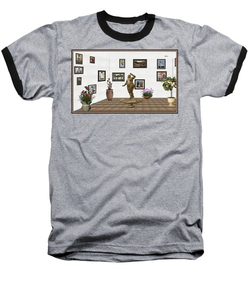 Baseball T-Shirt featuring the mixed media digital exhibition  Statue 25 of posing lady  by Pemaro